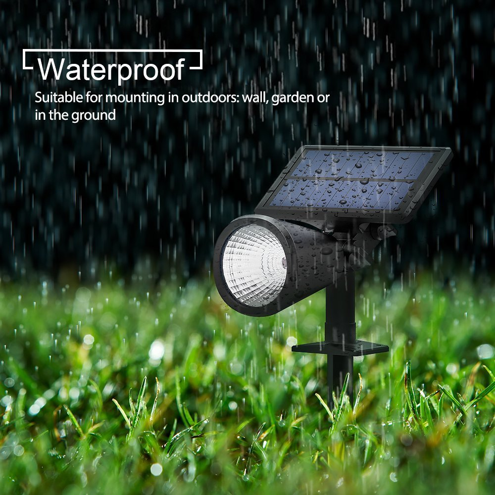 Mpow 4 pièces lampes à gazon lampes solaires 2 en 1 réglable étanche projecteur solaire paysage extérieur pour chemin jardin pelouse cour - 2