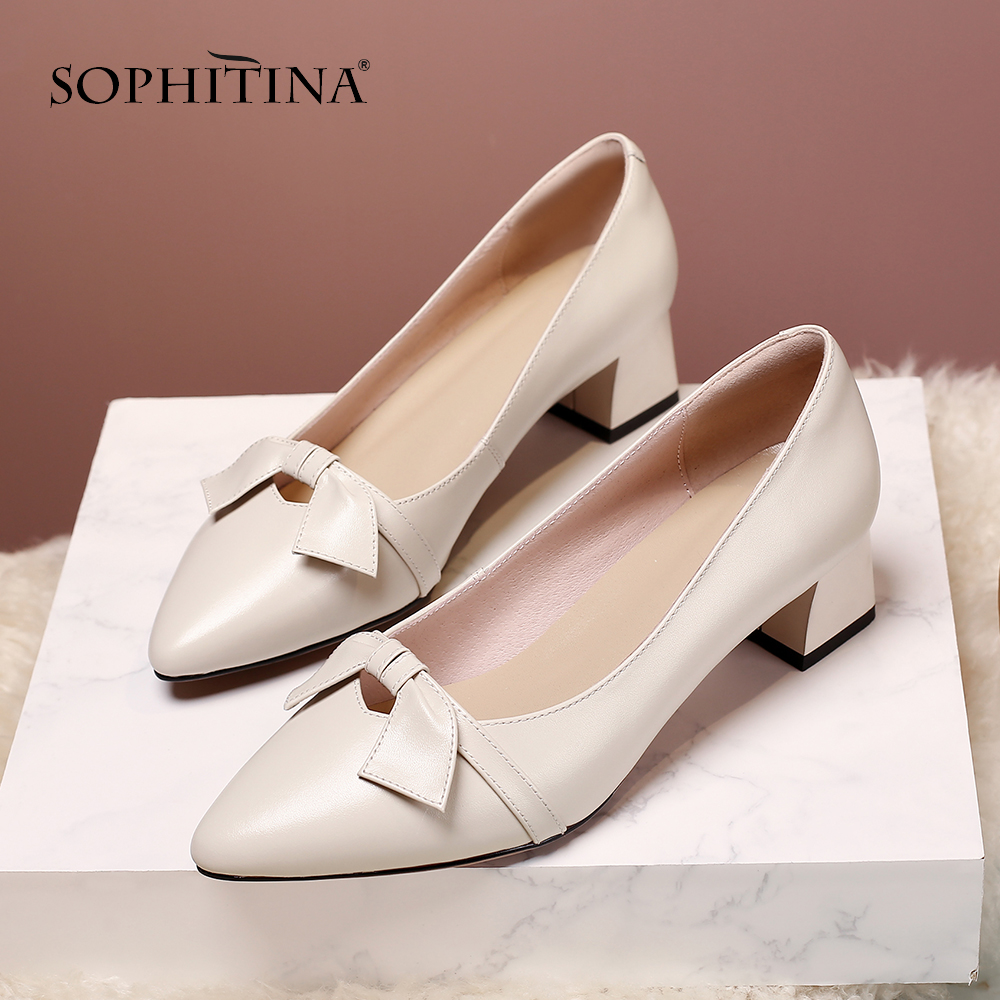 SOPHITINA New Stylish Square Heel Woman Pumps Spring Hot Sale Slip-On Shoes Casual Butterfly-Knot Pointed Toe Ladies Pumps MO216
