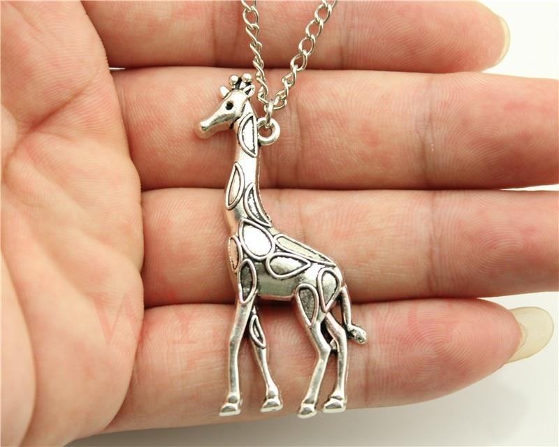WYSIWYG Moda semplice argento antico colore collana pendente giraffa, 70cm catena lunga collana dropship fornitori