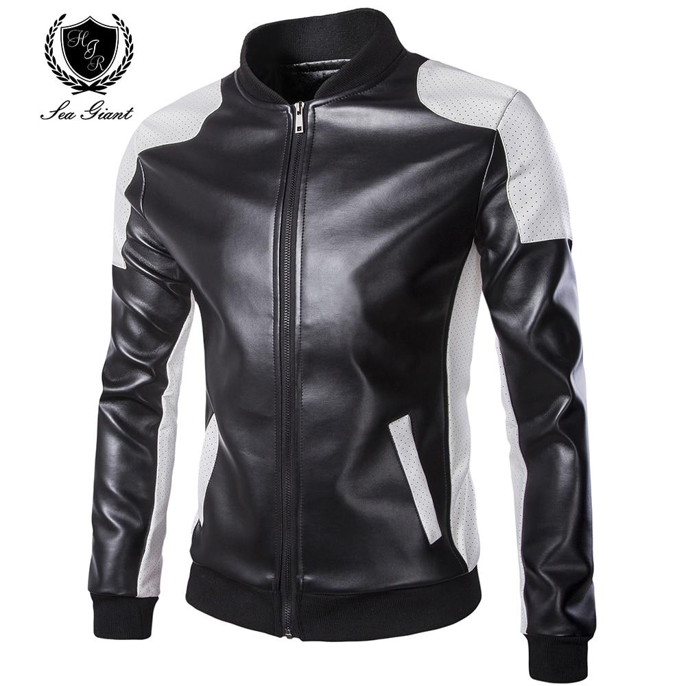 2017 Man's Stand Collar Patchwork jackets new mans echte leather blazer jacket classic business slim fit jacket plus size M-5XL