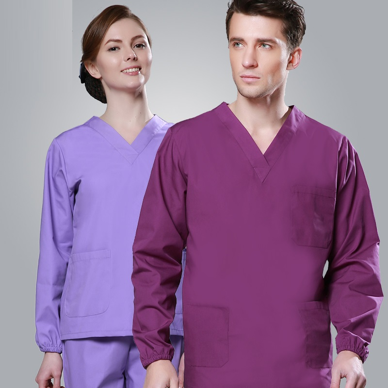 (10 Set-top&pant)Wash Clothes Long-sleeve 100% Cotton Surgical Gown Doctor Clothing Isolation Gown Scrub Suit Hospital Work Wear