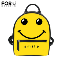FORUDESIGNS emoji Smile PU Leather Backpack Women 3D Print Yellow Tote Satchel School Bag Girl Mini Travel Waterproof Daypack