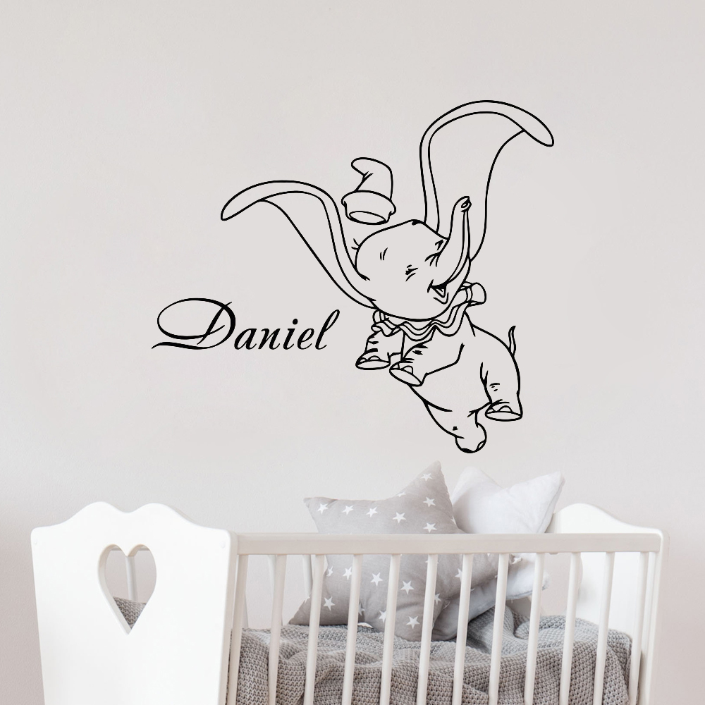 custom made personalized dumbo elephant with bubbles wall artname decal personalized any name vinyl wall decals nursery sticker dumbo elephant cartoon lovely art mural