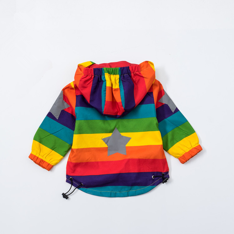 Baby Girl Jacket Boy Coat Hooded Sunscreen Clothing Rainbow Strip Jacket Baby Boy Long Sleeves Spring And Autumn Kids 2Y Clothing