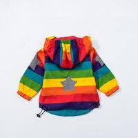 Baby Girl Jacket Boy Hooded Coat Sunscreen Clothes Rainbow Stripe Jacket Baby Boy Long Sleeves Spring