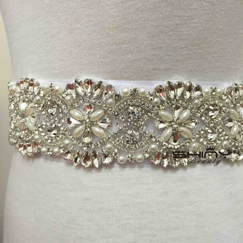 ShinyBeauty Wedding Sash Ivory Rhinestone Applique Pearl font b Bridesmaid b font Sash Satin Ribbon Rhinestone