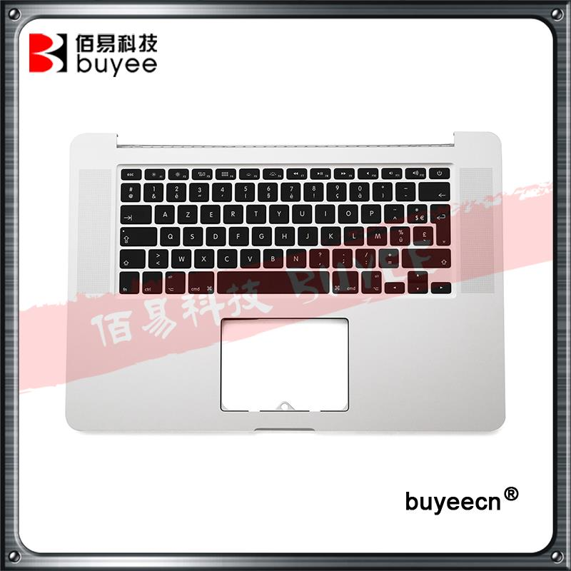 Original A1398 Palmrest Top Case French Keyboard Backlight 2012 For Macbook Pro Retina A1398 FR Keyboard Palm Rest Replacement brand new azerty fr french keyboard backlight backlit 100pcs keyboard screws for macbook pro 15 4 a1286 2009 2012 years