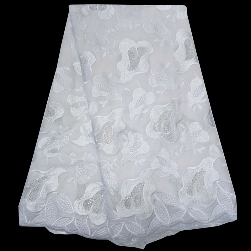 (5yards/pc) latest arrival pure white African cotton lace fabric allover embroidered with stones for party dress CLS158(5yards/pc) latest arrival pure white African cotton lace fabric allover embroidered with stones for party dress CLS158
