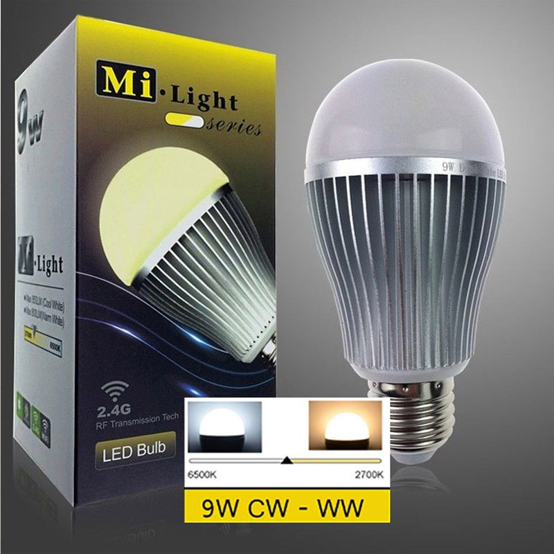 Mi.light Lamp 2.4G Wireless E27 9W 2700-6500K Smart LED Dual White Cool/Warm White CW/WW Bulb MiLight CCT Light 2 4g milight e27 9w wireless smart cw wwled lamp bulb 2 4g rf cct dim remote control for good reputation