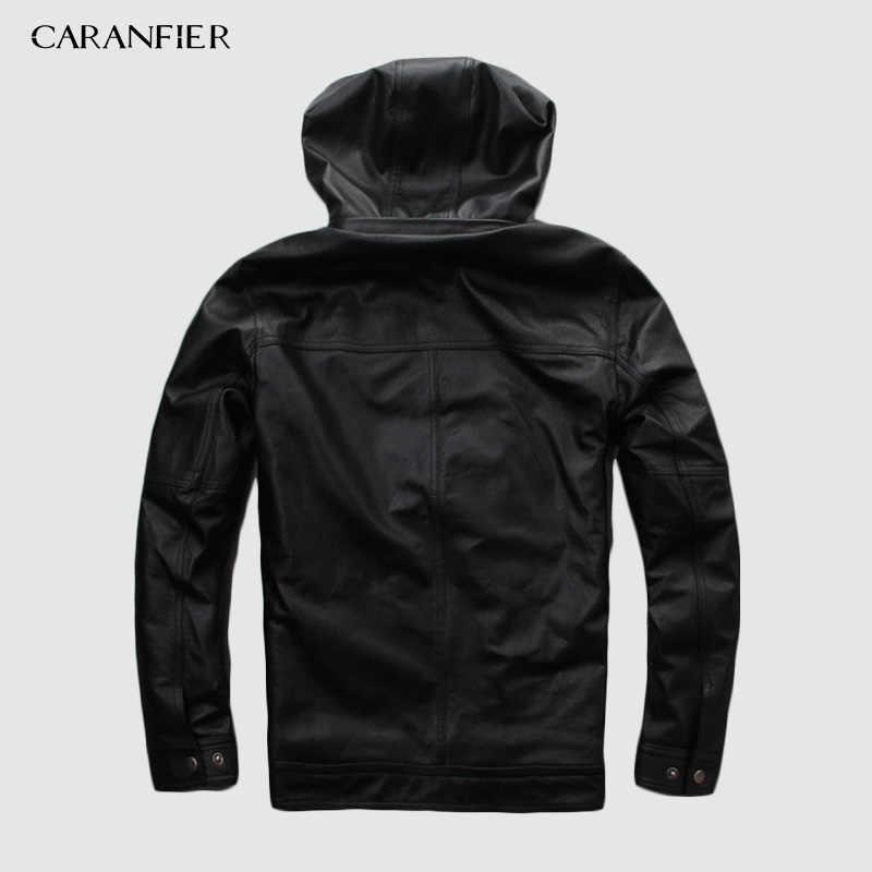 CARANFIER 2019 ชายใหม่สีดำ Hooded วัวแท้หนังแท้ 100% สบายๆฤดูหนาวรัสเซียเสื้อ DHL จัดส่งฟรี