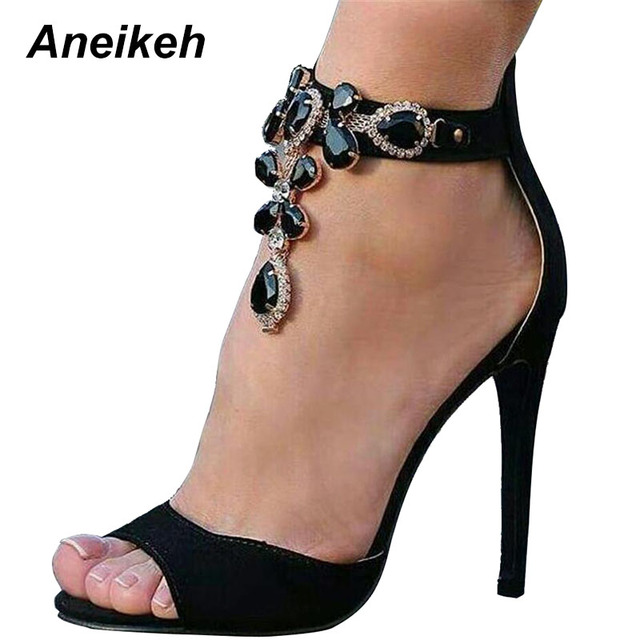 6d62d4c22f Aneikeh Black Crystal Women Embellished Suede Leather High Heel Sandals  Sexy Peep Toe Ankle Strap Rhinestones