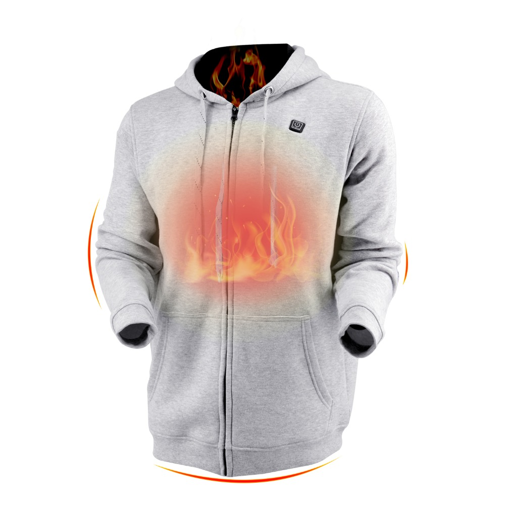 Dr Qiiwi Men Women Outdoor Hoodie Heating Jacket Soft Lightweight Heated Hooded Coat for Cold Weather