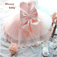 2017 New Baby Girls Dresses Voile Princess Big Bow Lace Infant Dress For Party Wedding Summer