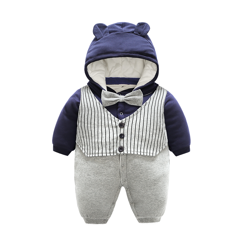 Baby Boy Gentleman Rompers Hooded Boys Warm Winter Clothes Costome Kids Jumpsuit Baby clothes set 2pcs set newborn baby boy clothes gentleman grey rompers with bow jeans baby boys clothing set