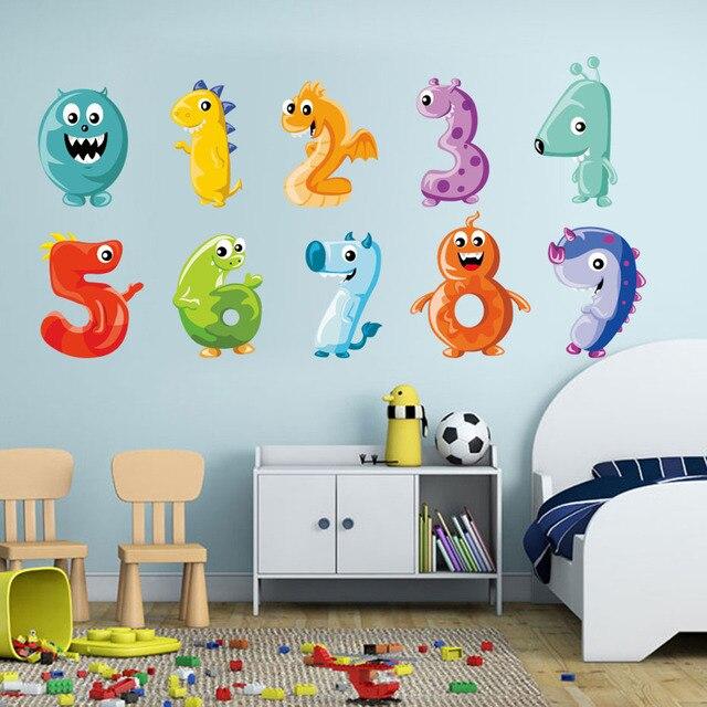 1 set cartoon baby dinosaurs numbers digital wall sticker 3d animal