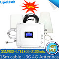 2G 3G 4G Triple band 70dB GSM 900 LTE 1800 WCDMA 2100 mhz Mobiele Telefoon Signaal Booster cellulaire Signaal Repeater 3G 4G Antenne Set