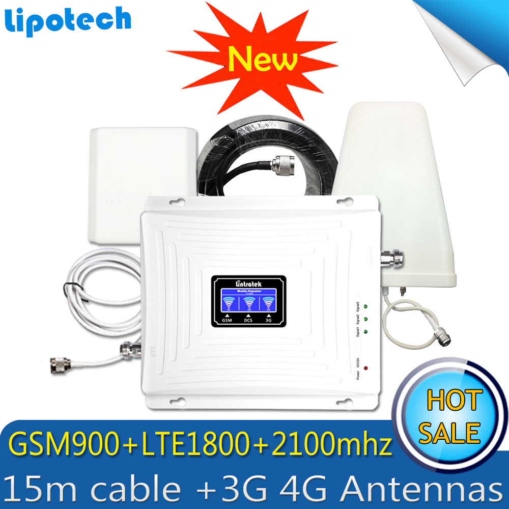 2G 3G 4G Triple banda 70dB GSM 900 LTE 1800 WCDMA 2100 mhz teléfono celular amplificador de señal repetidor de señal celular 3G 4G conjunto de antena