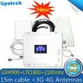 2G 3G 4G Triple banda 70dB GSM 900 LTE 1800 WCDMA 2100 mhz teléfono celular amplificador de señal celular repetidor de señal 3G 4G juego de la antena