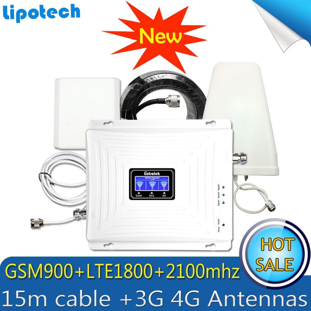 2G 3G 4G Triple bande 70dB GSM 900 LTE 1800 WCDMA 2100 mhz téléphone portable Signal Booster Cellulaire répéteur de signal 3G 4G Antenne Ensemble