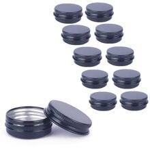 10Pcs 15ML Mini Black Tin Jar Pot Cosmetic Face Cream Lip Balm Sample Small Bottle Aluminum Jar Stor