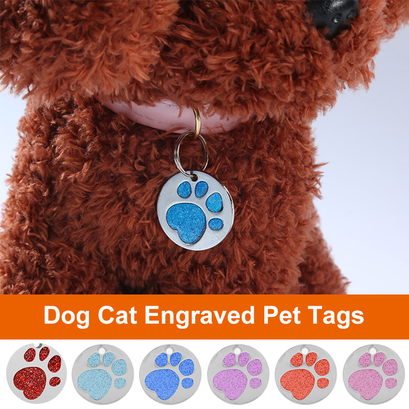 Pet Tags Personalized Dog Engraved Cat Puppy ID Name Collar Tag Paw Pendant Anti-lost Accessories