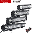 """Oslamp 12 """"16"""" 20 """"23"""" 3-Row LEVOU Barra de Luz Offroad CREE Chips Combo Feixe de luz Led trabalho Light Bar para o Caminhão SUV ATV 4x4 4WD DC12v 24 v"""
