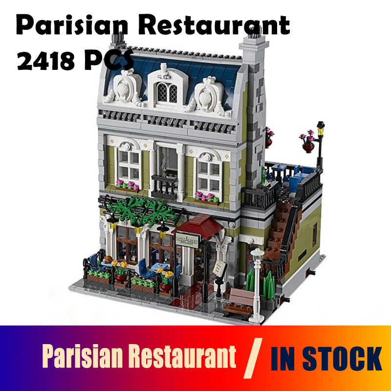 Model building blocks Compatible with Lego 10243 15010 Expert City Street Parisian Restaurant bricks toys for children dhl new 2418pcs lepin 15010 city street parisian restaurant model building blocks bricks intelligence toys compatible with 10243