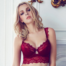 MILLYN Push Up Bra Set Sexy Thong Pants Lingerie Deep V Embroidery Underwear Women Flower Lace Female