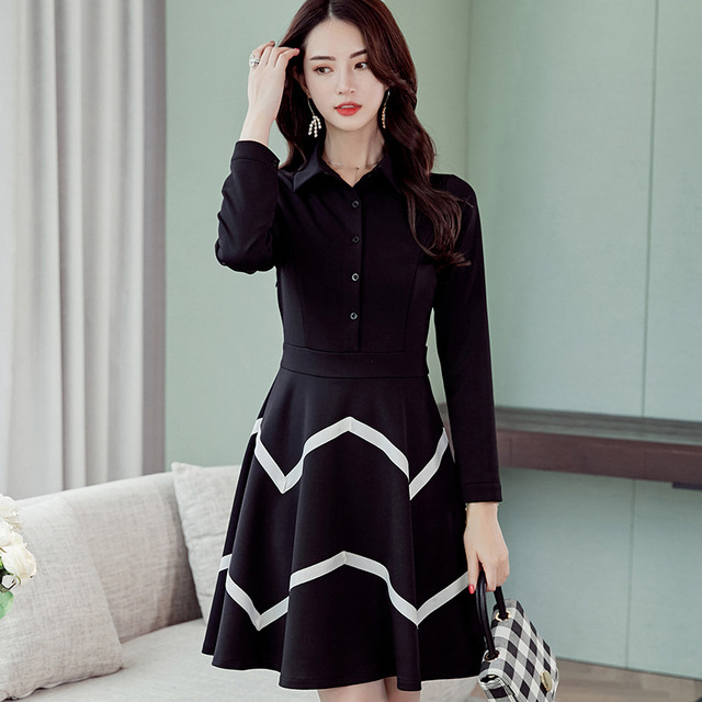 e88bb4d47 Women 2018 Autumn Winter New Korean Style Dress Thin Long Sleeve Female  Fashion Casual Slim Striped Dresses Vestidos Plus size