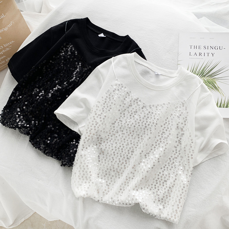 Women White Black 2020 Summer T Shirts Harajuku Sequin Solid Short Sleeve Casual Loose Sexy T Shirt Fashion Fake Two Pieces Tops
