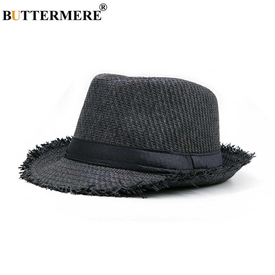 BUTTERMERE brązowy słomy kapelusz na plaży mężczyźni kobiety lato Panama Cap na co dzień Fedora kapelusz mężczyzna moda słomkowy kapelusz ochrona przed promieniowaniem UV