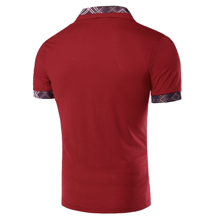 Men Polo Shirt Fashion Plaid Collar Business Mens Polo 2016 Casual Short Sleeved Sports Golf Tennis Cotton Polo Red Camisa M-2XL (7)