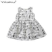 Yilaku muchacha sin mangas de la historieta infantil conejito conejo blanco imprimir Ball Tutu vestido casual niños ropa de Pascua CA315