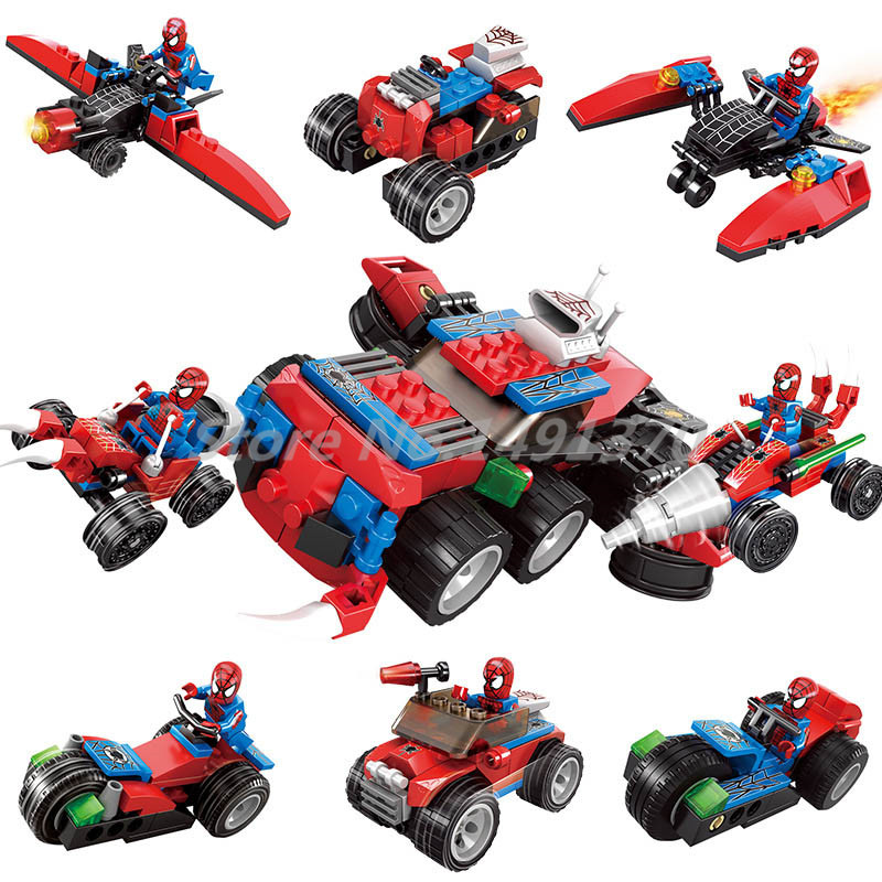 Spiderman Playmobile New 4 in 1 Spider Man Super Hero Figure Building Block KAZI 60012 Sets Christmas Gifts Toys For Children