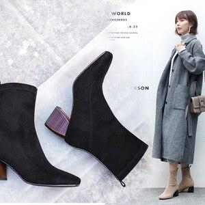 Image 4 - Vangull femmes bottes style britannique troupeau velours stretch bottes décontracté mode interne en cuir européen et américain tout match