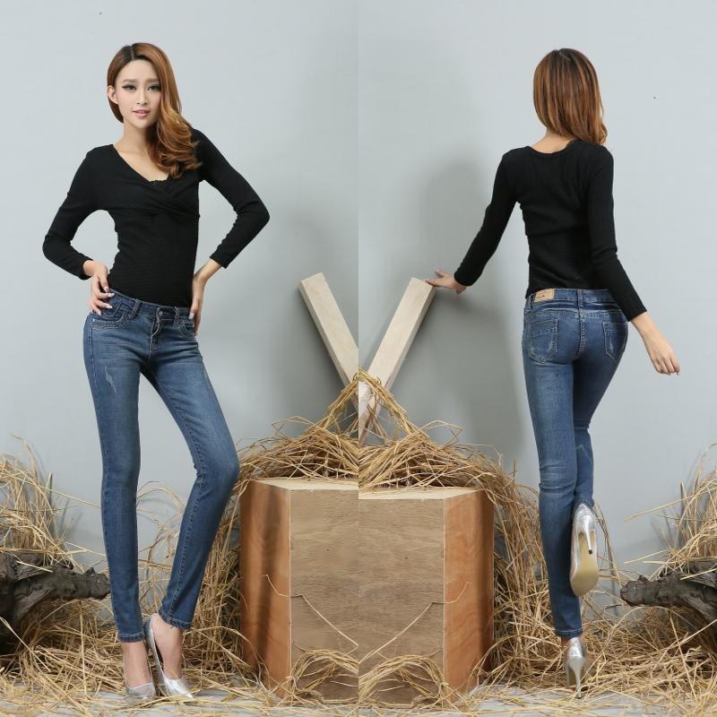 Fashion women's jeans. Casual jeans. The pop world women sexy ...