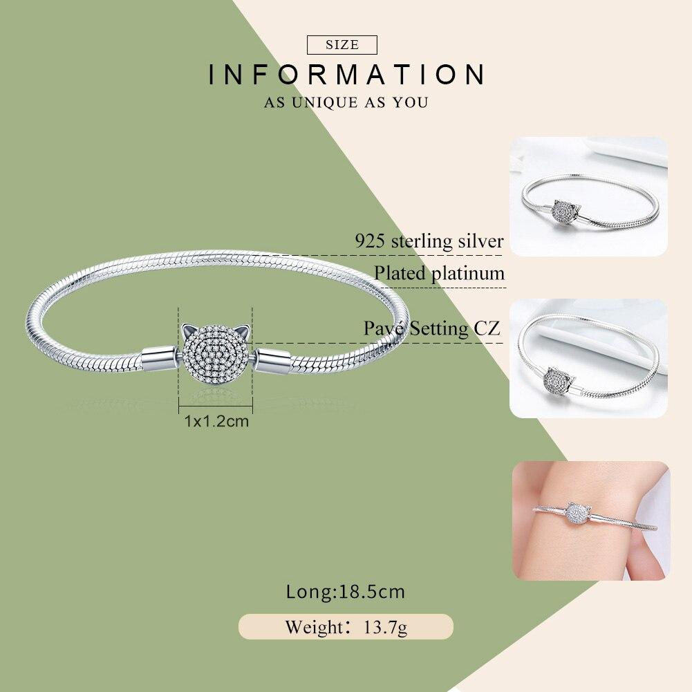 Image 2 - BAMOER 100% 925 Sterling Silver Cute Cat Glittering CZ Snake  Strand Chain Bracelets for Women Sterling Silver Jewelry SCB053Charm  Bracelets