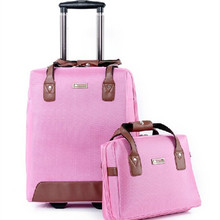 A set of valiz bag Fashion Business Oxford travel bags women suitcase Spinner wheels Students trolley rolling luggage bag Mute