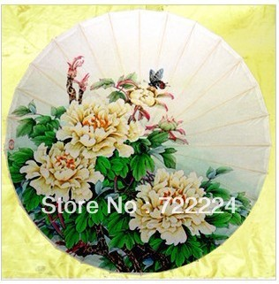 Dia 50cm Free shipping butterflies and peony rain and decoration oiled paper umbrella chinese handmade classical women umbrella dia 84cm chinese handmade red plum blossom oil paper umbrella ancient waterproof sunshade parasol decoration gift dance umbrella