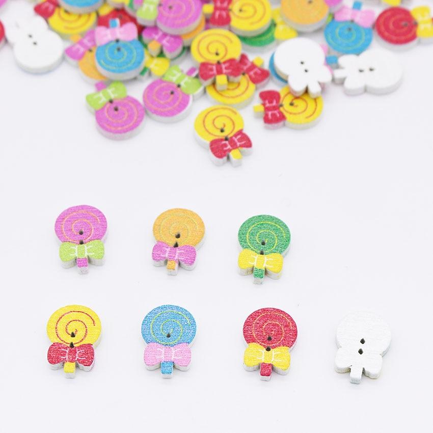 ⑤100 piezas piruleta Multicolor botón de madera para coser ...