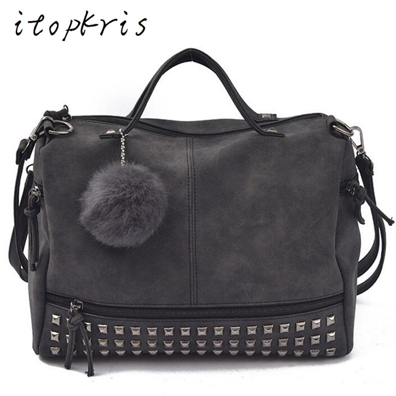 Itopkris Designer Women Handbag Matte Vintage PU Leather Motorcycle Messenger Bag Female Rivet Capacity Shoulder Bag