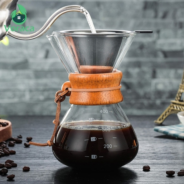 400ml Glass Coffee Pour Over Pot with Stainless Steel Filter 3