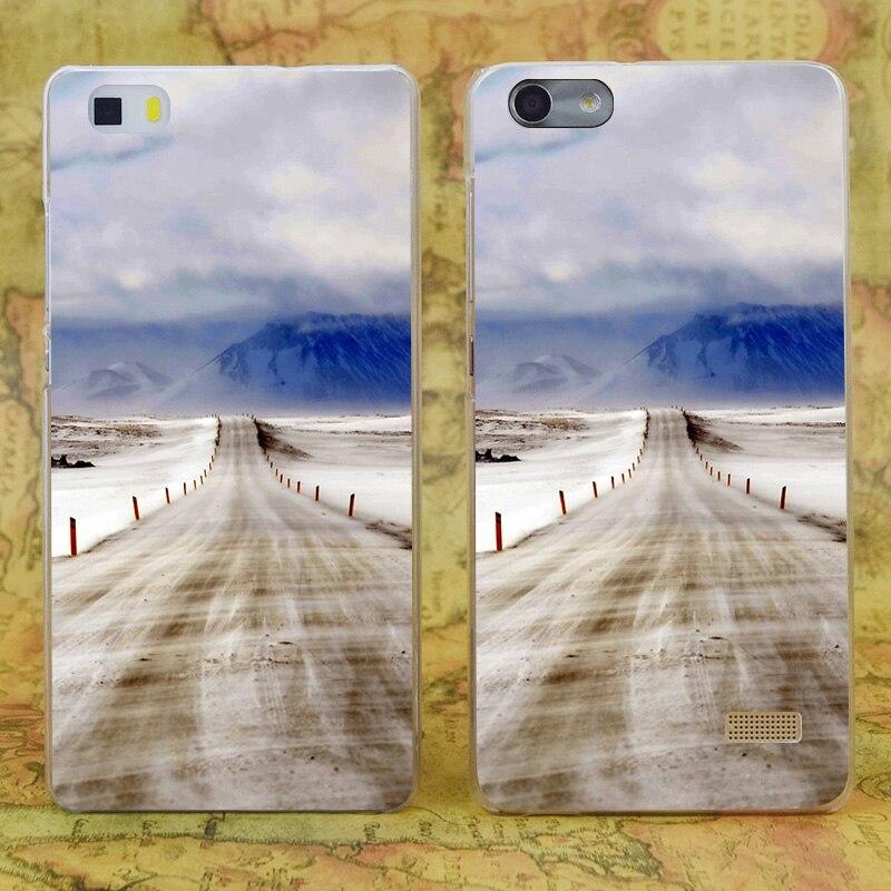 E3840 исландский открытой дороге прозрачный жесткий тонкой кожи, чехол для Huawei P 6 7 8 9 lite плюс Honor 6 7 4c 4x G7