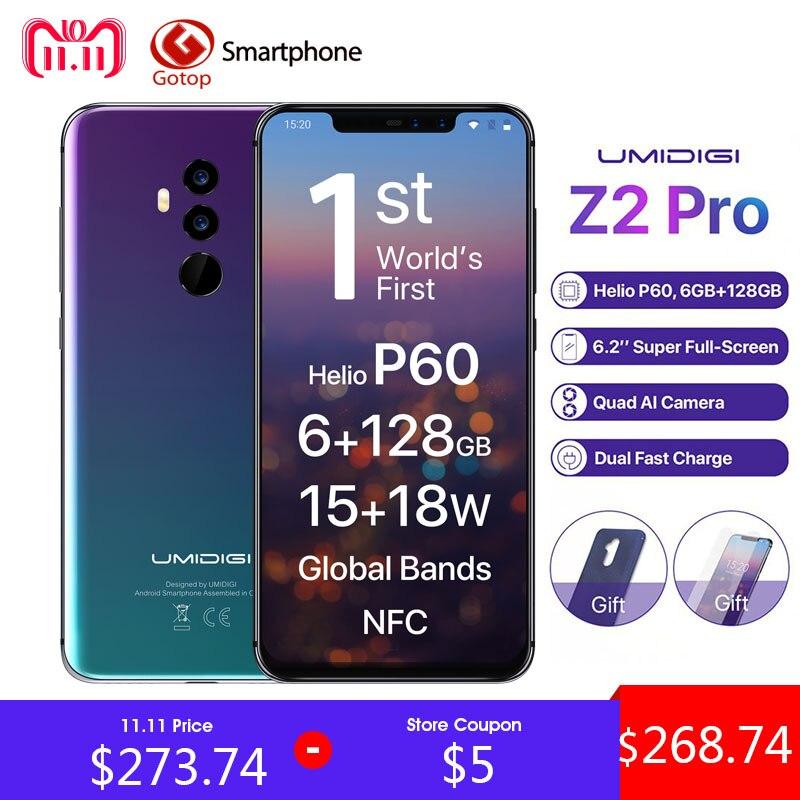 Umidigi Z2 Pro FHD + Plein Écran 6 gb RAM 128 ROM Mobile téléphone Helio P60 Octa Core 6.2 android 8.1 Quatre Caméra 4g LTE téléphone portable