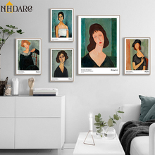 Modern Vogue Woman Portrait by Amedeo Modigliani Canvas Print Painting Poster Wall Pictures for Living Room Home Decor Wall Art classic amedeo modigliani picasso artwork collection sketch canvas print painting poster wall pictures living room home decor
