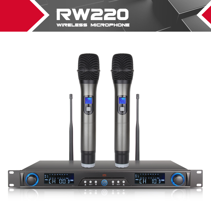 XTUGA Wireless Microphones System Receiver For Stage Bar Show 2 channel handheld mic Digital Diversity UHF