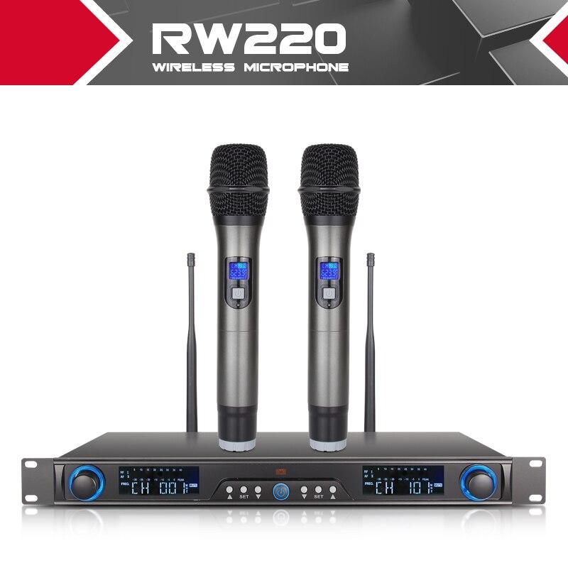 XTUGA Sans Fil Microphones Système Récepteur Pour La Scène Bar Afficher 2 canal de poche mic Numérique Diversité UHF RW220