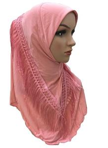 Image 5 - One Piece Amira Hijab Tassel Scarf Muslim Hijabs Women Headscarf Fringe Shawl Wrap Islamic Turban Full Cover Cap Niquabs Hijab