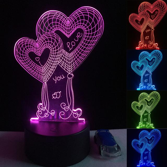 3D LED Hologram – Nočné svetlo – Double Heart