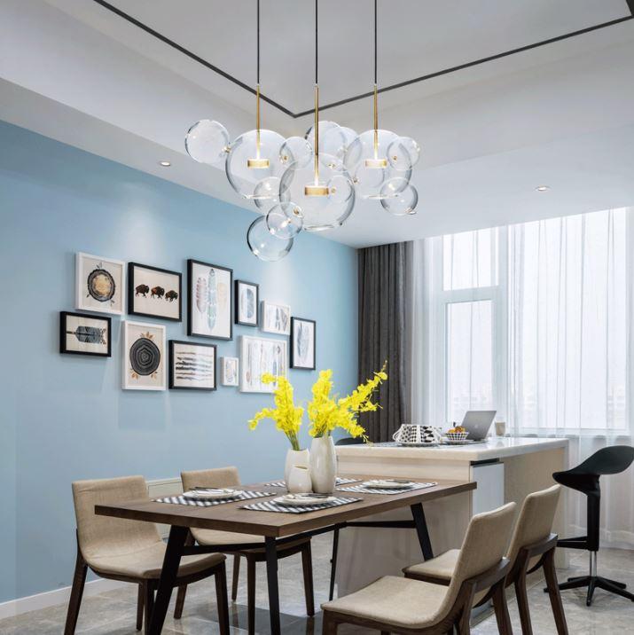 US $85.4 30% OFF|Nordic lighting creative personality dining room  restaurant chandelier post modern minimalist living room bedroom bubble  light-in ...